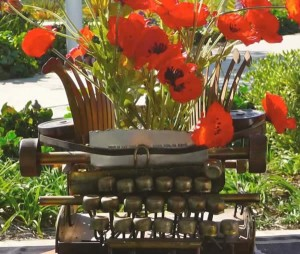 Brass Typewriter with Poppies